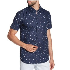 XRAY Men's Blue Short Sleeve Slim Fit Shirt
